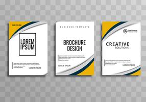 Modern wavy business brochure template design vector