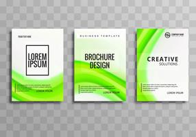 Modern green wave business brochure set template