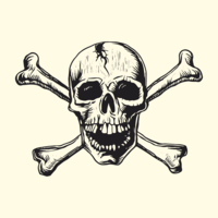 Skull-with-bones-linocut-vector-design
