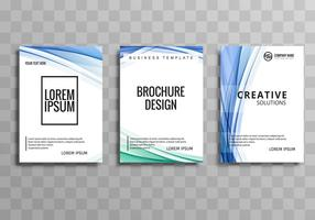 Modern business brochure wave template set