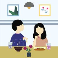 Cute Couple Eating at Restaurant Vector