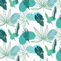 Summer Pattern With Green Leaves  vector