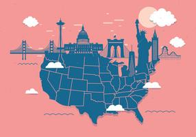 United States Landmark Map Vol 3 Vector