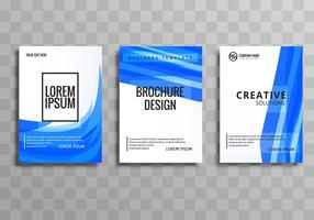 Abstract blue wave business brochure set design