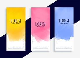 lovely colorful watercolor banners set