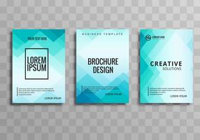 Beautiful blue business brochure template set