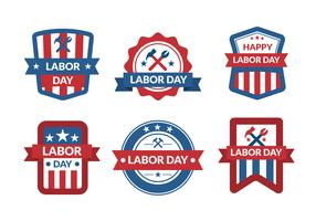Labor Day Badges Set