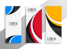 colorful wavy vertical business card or banner design