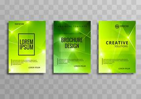 Modern bright green polygon business brochure set design