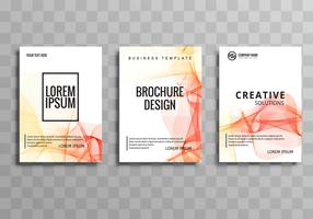 Abstract colorful wave business brochure set template
