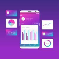 Charts UI Kit Purple Vector