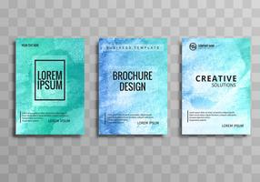 Abstract watercolor business brochure set template