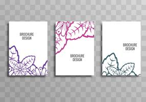 Abstract colorful business brochure floral template set vector