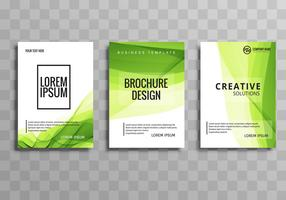 Abstract green business brochure wave template set
