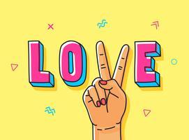 Vrede Liefde Hand getrokken illustratie