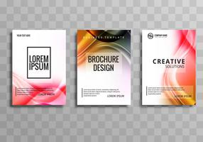 Modern wave business brochure set template design