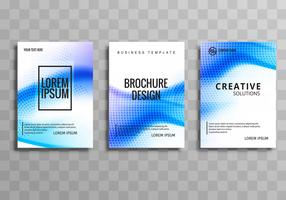 Modern wave business brochure set template