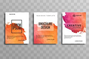 Set de brochure d'entreprise aquarelle colorée abstraite