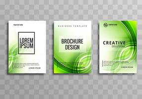 Conception de modèle abstrait vague verte brochure commerciale