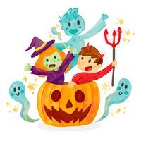 Miúdos bonitos com traje de Halloween dentro de abóbora