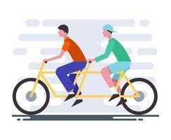 Ilustración de bicicleta en tándem
