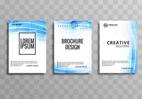 Modern buisness brochuse wave template set vector