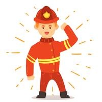 Firefighter On White Vector