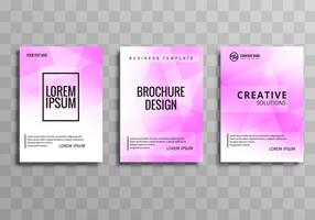 Beautiful business brochure polygon template set vector