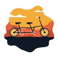 Ilustração em vetor bicicleta tandem