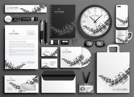 abstract black and white business stationery set
