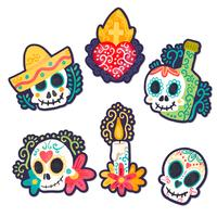 Cute Day Of Dead Stickersm With Sugar Skull