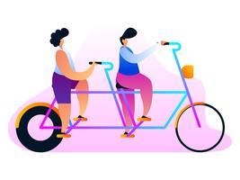 Único Tandem Bike Vectors