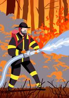 Firefighter Holding Hose vector