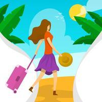Mulher plana com mala na ilustração vetorial de praia