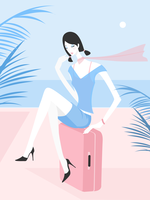 Woman With Suitcase On The Beach Vector Illustration