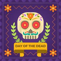 Flat Day of the Death Sugar Skull with Ornament Vector Illustration