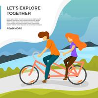 Flat Couple Ride Tandem Bike Vector Illustration