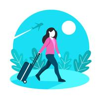 Solo Traveler Women With Suitcase Background vector