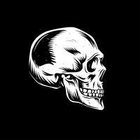 Linocut do lado do crânio vetor