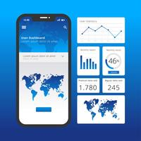Charts UI Kit Blue Vector