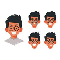 Face Emoticon Boy med glasögon Vector Collection