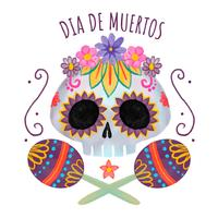Cute Sugar Skull With Flowers And Leaves vector