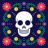 Day Of The Dead Card With Floral Decoration vector