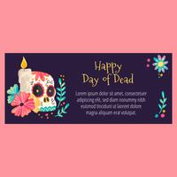 Cute Banner with Sugar Skull And Flowers