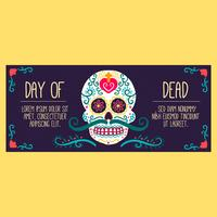 Cute Banner With Sugar Skull vector