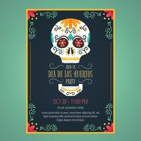 Flyer Day Of Dead con Sugar Skull y flores