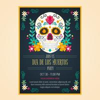 Flyer Day Of Dead In Watercolor Style