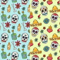 Cute Pattern Day Of Dead With Sugar Skulls