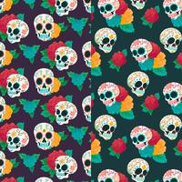 Watercolor Pattern Day Of Dead With Sugar Skull And Flowers