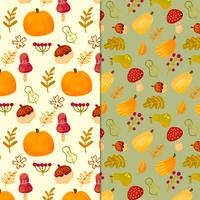 Cute Falls Pattern With Leaves, Pumpkin And Mushrooms vector